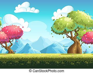 Seamless background colorful trees in the forest against the...