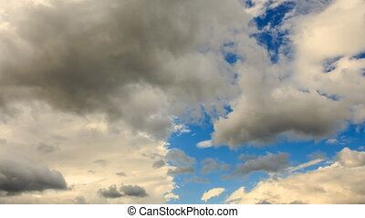 Closeup Timelapse of White Clouds Floats on Blue Sky
