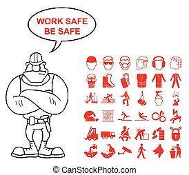 Health and Safety Graphics - Red construction manufacturing...