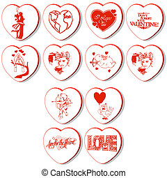 hearts vectors - set of 12 heart vectors isolated on white...