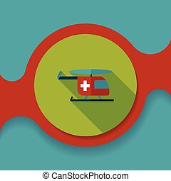 Medical helicopter flat icon with long shadow