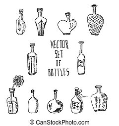 Hand drawn vector set of bottles.