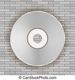 Vector Compact Disc Icon on Gray Brick Background