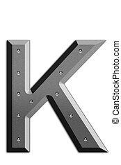 Letter K - Metallic letter K isolated on white background