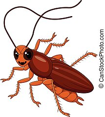 Cute Cockroach isolated - Vector illustration of Cute...