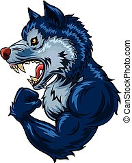 Illustration of strong wolf