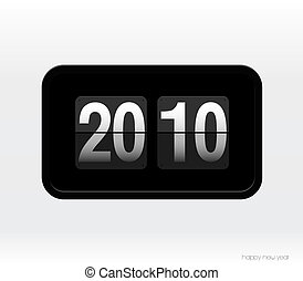 Flip clock with 2010 year.