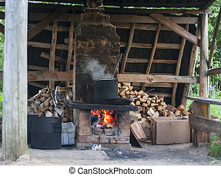 pot in the brick oven - the pot in the brick oven in Russia