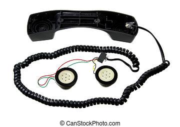Broken Telephone Handset on White Background