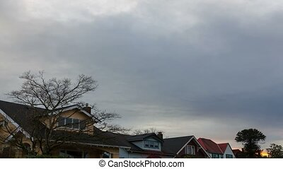 Time Lapse of clouds in suburb area - Time Lapse movie of...