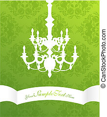 Chandelier on green flower pattern background with place for your text.