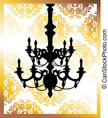 Chandelier on golden flower pattern background with place for your text.