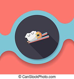 Chinese New Year flat icon with long shadow,eps10, Coin wrapped in dumplings where people eat throughout the year will be very lucky and get rich.