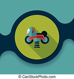 playground toy motor flat icon with long shadow