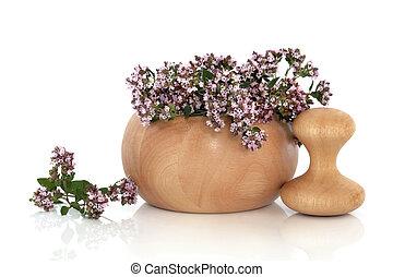 Marjoram Herb Flowers - Marjoram herb flowers and leaves in...