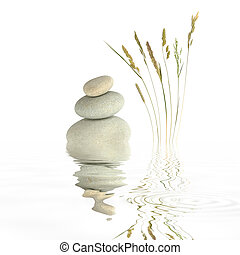 Zen Simplicity - Zen garden abstract of grey spa stones in...