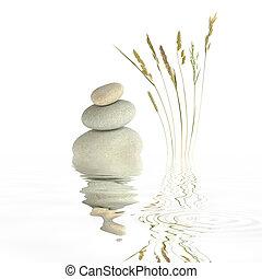 Zen Simplicity - Zen garden abstract of grey spa stones in...