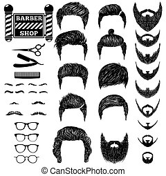 barber set 1 - A set of hand drawn of mens hairstyles,...