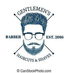 hair and beards - Barbr shop logo Gentlmen haircuts and...