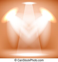 Stage Spotlight Background - Spotlights Isolated on Orange...