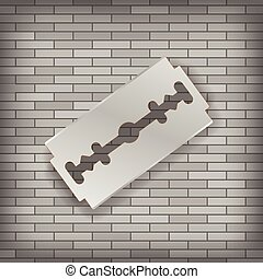 Realistic Razor Blade Icon on Gray Brick Background