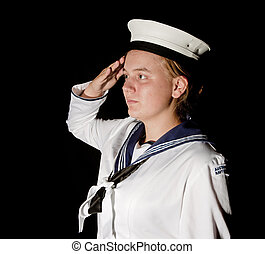 navy seaman saluting on black - young female navy seaman...