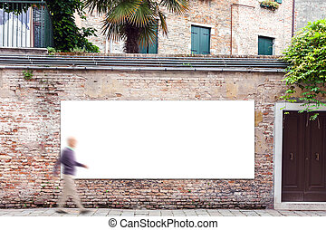 Billboard with copy space on the wall in Venice - Blank...