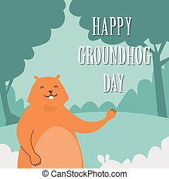 Groundhog Day Happy Animal Waving Paw Greeting Card Flat...