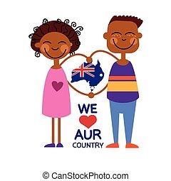 Australia Day National Flag Map Children Kids Love Country