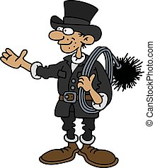 Funny classic sweeper - Hand drawing of a funny classic...