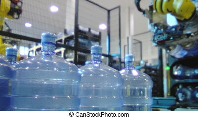 Bottled water factory robot line