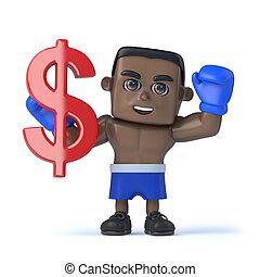 3d Black boxer holds US Dollar currency symbol - 3d render...