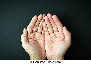 Empty cupped hands - Close up of empty cupped hand, palms up...