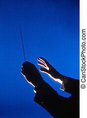 Hands of Conductor With Baton - Hands of an orchestra...