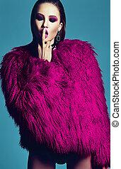 Moda, encanto, elegante, Swag, joven, mujer, modelo, en,...