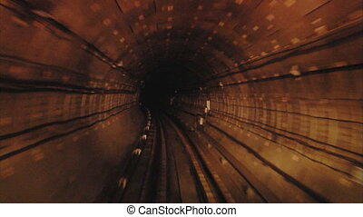 subway 4 - Subway tunnel. View from subway train cabine.