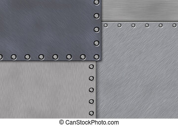 Rivets in brushed steel background Copy space
