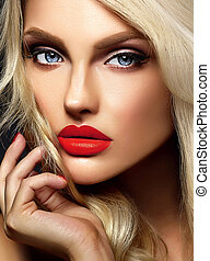 sensual glamour closeup portrait of beautiful blond woman model lady with bright makeup and red lips , with healthy curly white hair