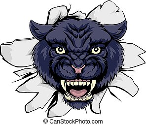 Black Panther Sports Mascot - A black panther cartoon sports...
