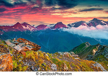 Dramatic summer sunrise on the Grossglockner mountain