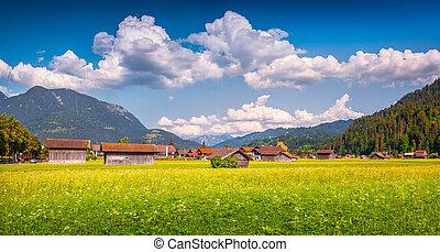 Sunny summer view of Garmisch-Partenkirchen town. - Sunny...