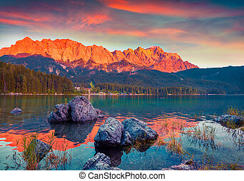Colorful summer scene on the Eibsee lake in German Alps...