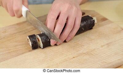 knife rice salmon board raw