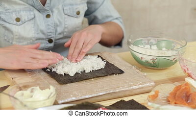 sushi handmade roll rice nori