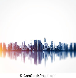 Panoramic view of a megalopolis with reflection Square -...