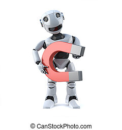 3d Robot has a big magnet - 3d render of a robot holding a...