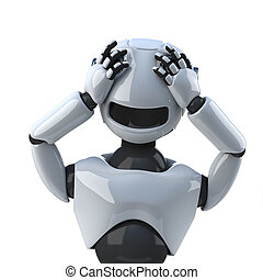 3d Robot sees no evil - 3d render of a robot with his hands...