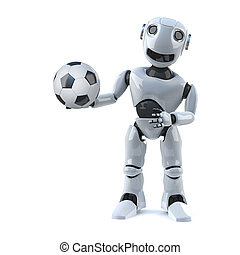 3d Robot is ready to play football - 3d render of a robot...