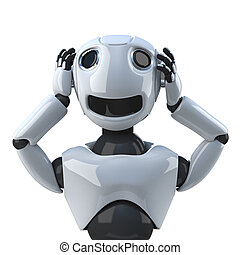 3d Robot hears no evil - 3d render of a robot holding his...