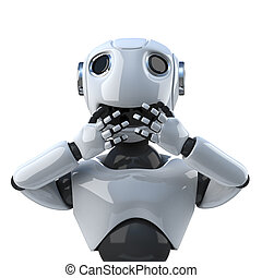 3d Robot speaks no evil - 3d render of a robot holding his...